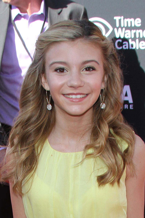 G Hannelius Wavy Ash Blonde Pinned Back Hairstyle Steal Her Style