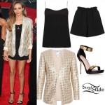 Jade Thirlwall: Silk Top & Shorts, Sequin Blazer