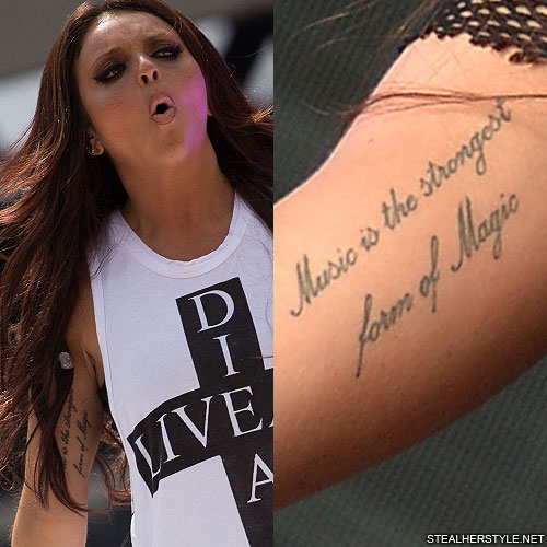 """Cardi B Tattoos Arm: Jesy Nelson """"Music Is The Strongest Form Of Magic"""" Bicep"""
