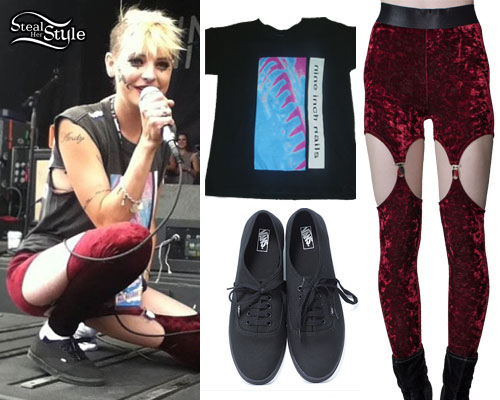 Juliet Simms: Burgundy Velvet Garter Leggings