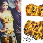 Kat Graham: Sunflower Print Bandeau & Shorts