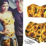 Kat Graham: Sunflower Print Bandeau & Shorts