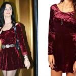 Katy Perry: Burgundy Velvet Dress