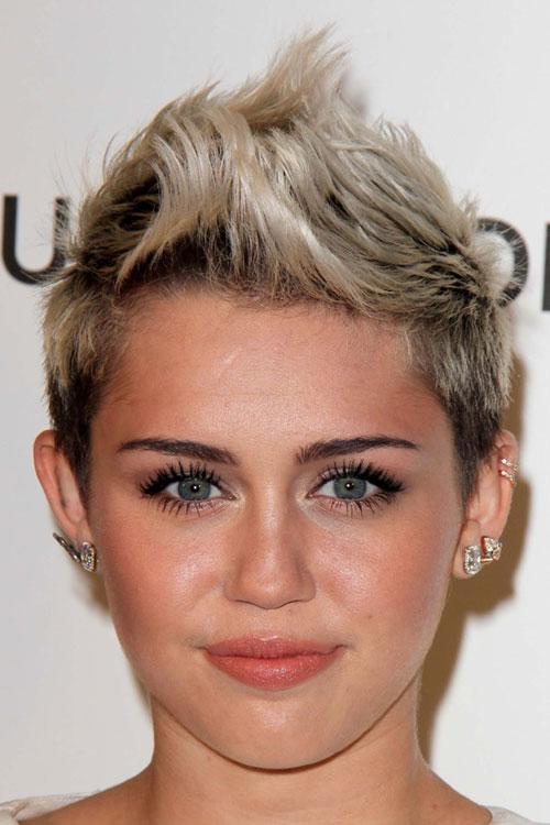 Miley Cyrus Straight Platinum Blonde Mohawk Hairstyle