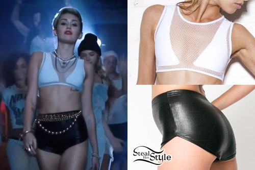 Miley Cyrus: Mesh Bikini, Shiny Hotpants