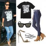 Rihanna: Fame Tee, Ripped Jeans