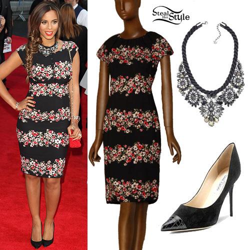 Rochelle Humes: Floral Dress, Black Pumps
