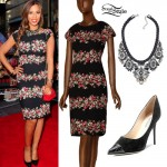 Rochelle Humes: Floral Dress, Black Pumps