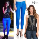 Victoria Justice: Studded Tank, Blue Coated Jeans