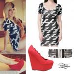 Allison Green: Zig-Zag Print Dress, Studded Belt