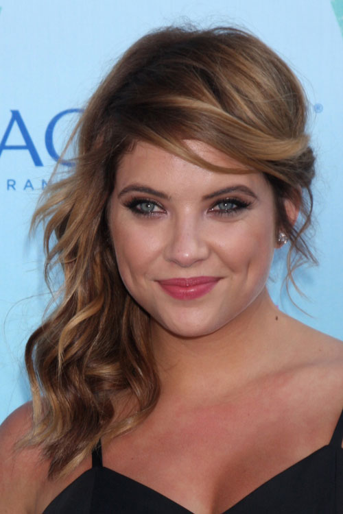 Ashley Benson Wavy Light Brown Faux Sidecut Side Part Hairstyle