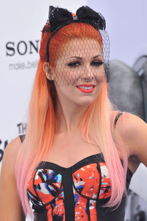bonnie mckee straight orange dip dyed halfup halfdown