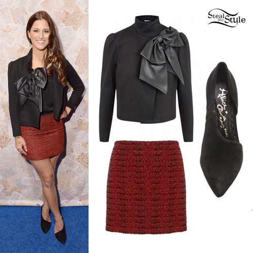 05a70e059d0 Cassadee Pope  Leather Bow Jacket Outfit
