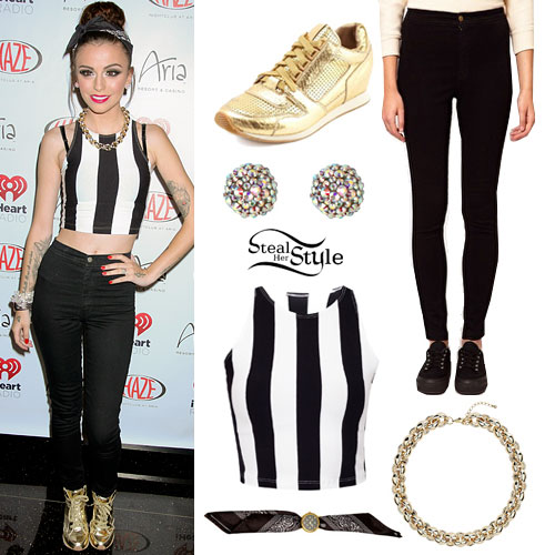 Cher Lloyd: Stripe Crop Top, Black Easy Jeans