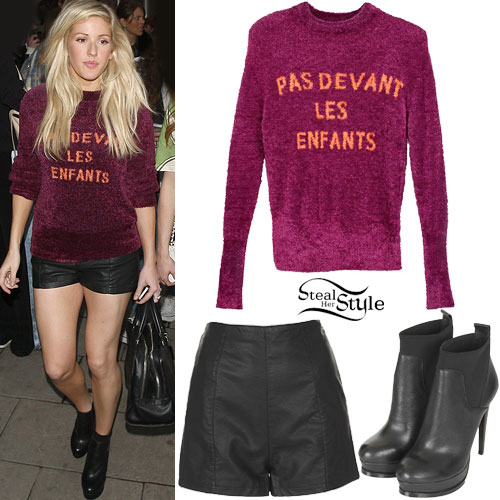 Ellie Goulding: Fuzzy Jumper, Leather Shorts