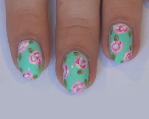 G Hannelius Mint Green Flowers Nail Art Nails Steal Her Style