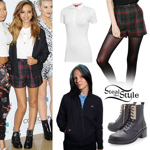 Jade Thirlwall: Tartan Shorts, Black Boots