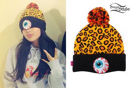 d9b773aae54 Jasmine Villegas  Leopard Eyeball Beanie. photo posted by Jasmine Villegas  on instagram. Jasmine Villegas  Mishka Keep Watch Safari Pom ...