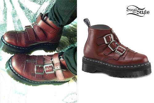 Jenna McDougall: Maroon Strap Boots