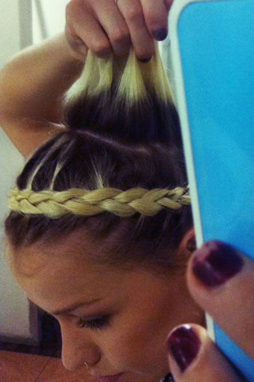 Jenna Mcdougall Straight Golden Blonde Crown Braid Dark