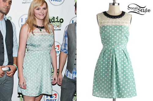 Lindsey Stamey: Mint Green Polka Dot Dress