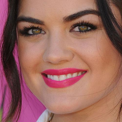 Black And Pink Kiss Makeup: Lucy Hale Makeup: Black Eyeshadow & Hot Pink Lipstick