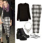 Nina Nesbitt: Black Sweater, Check Pants