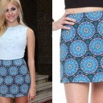 Pixie Lott: Blue Printed Mini Skirt