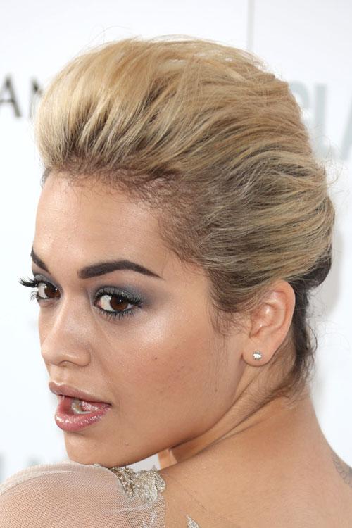 Rita Ora Straight Golden Blonde French Twist Pompadour Updo