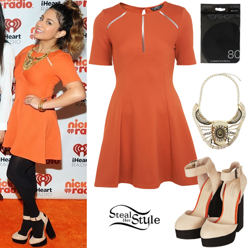 Ally Brooke: Orange Textured Dress Outfit | Steal Her Style Fifth Harmony Ally Outfits