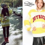 Becky G: Yellow and White Striped Sweater