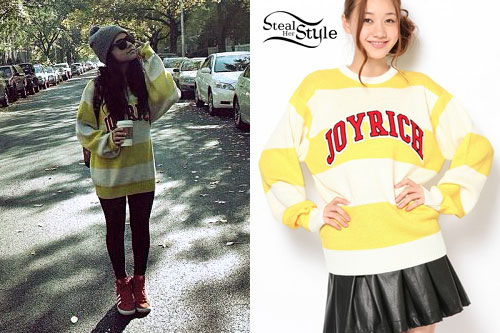 65ac32a2a202 Becky G  Yellow and White Striped Sweater