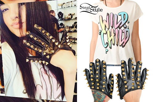 Becky G: Spiked Leather Scoop Gloves
