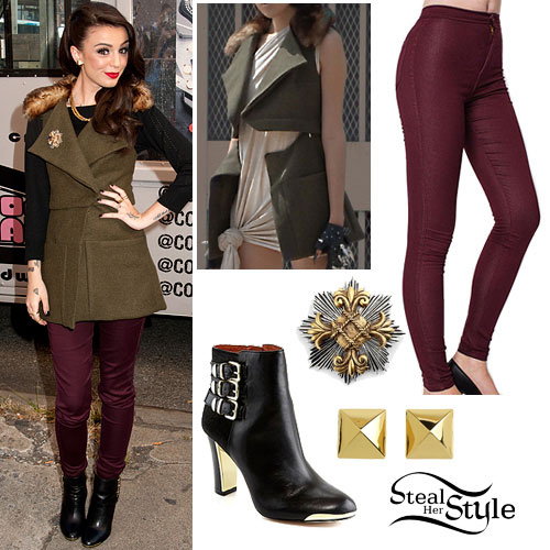Cher Lloyd: Oxblood Jeans, Fur Collar Vest