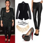 Demi Lovato: Leather Sleeve Blazer Outfit