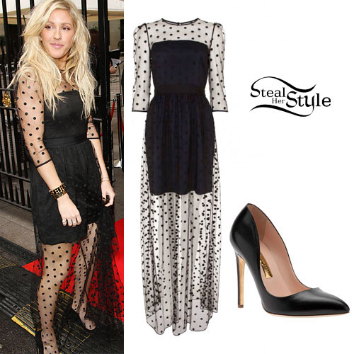Ellie Goulding: Long Spotted Sheer Dress