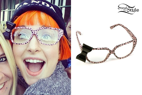 Hayley Williams: Animal Print Bow Glasses
