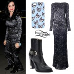 Katy Perry: Long Printed Dress, Ankle Boots