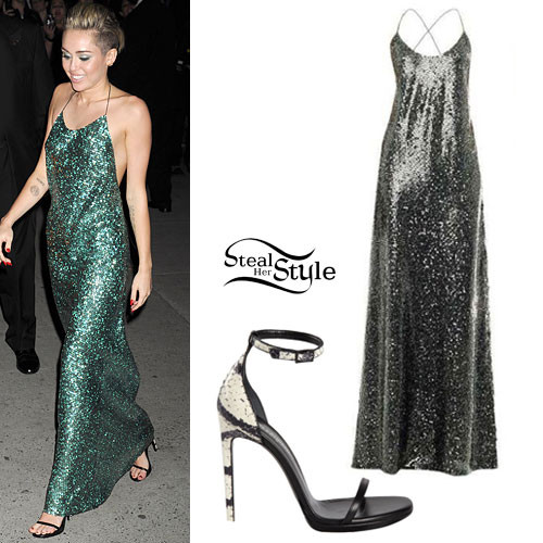 Miley Cyrus Sequin Maxi Dress Steal Her Style