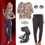 Perrie Edwards: Floral Top, Grey Peg Trousers