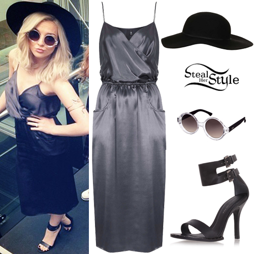 perrie edwards satin dress heeled sandals steal her style