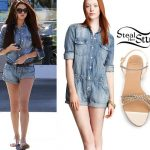 Selena Gomez: Denim Romper, Chain Sandals