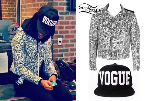 Teyana Taylor: Vogue Hat, Print Biker Jacket