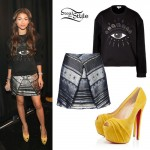 Zendaya: Eye Sweater, Silver Skirt