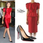 Zendaya: Red Peplum Dress, Patent Pumps