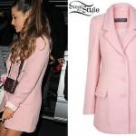 Ariana Grande: Pink Wool Coat
