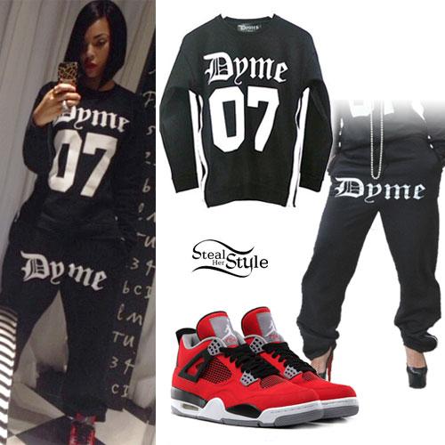 Ashanti: Dyme Sweatsuit, Red Jordans