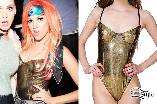Bonnie McKee: Bronze Metallic Bodysuit
