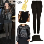 Cher Lloyd: Leather Sweater, Black Hat