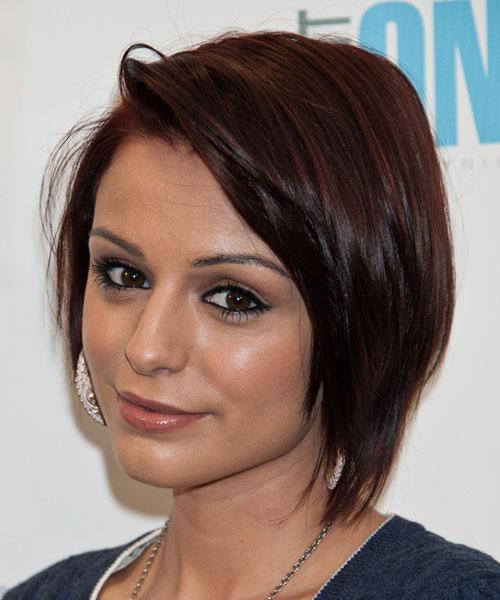 Cher Lloyd Straight Dark Brown Bob Side Part Hairstyle
